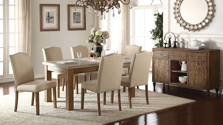 Acme Parker Dining Set - Concrete Gray/Salvage Oak