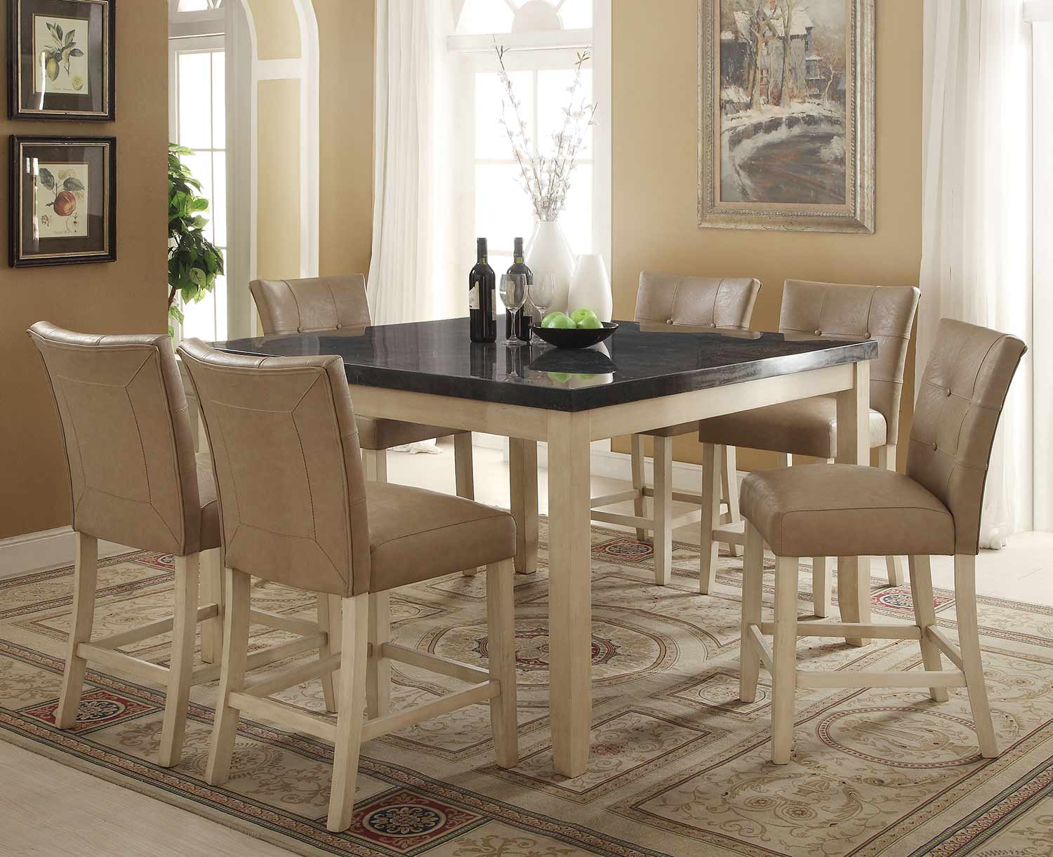 Acme Faymoor Counter Height Dining Set - Limestone Marble/Antique White