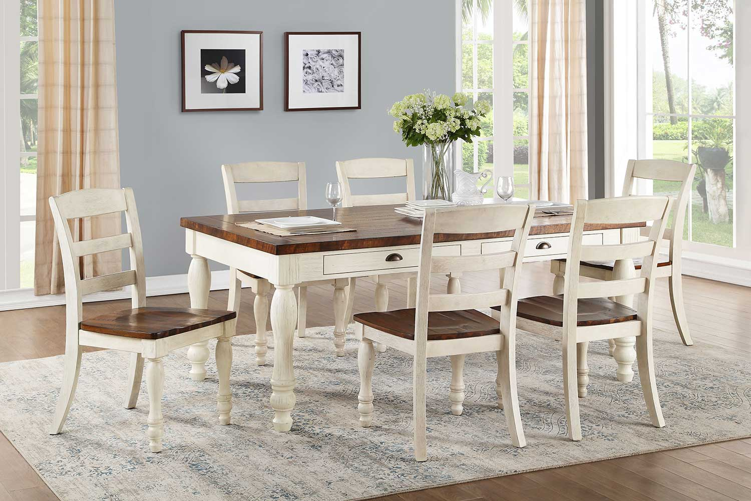 Acme Britta Dining Set - Walnut/White Washed