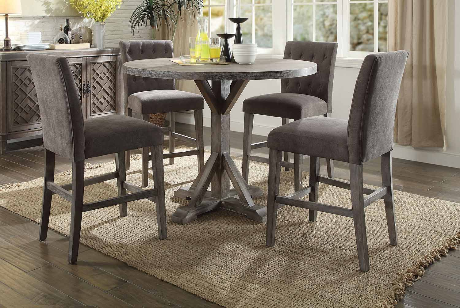 Acme Carmelina Counter Height Dining Set - Weathered Gray Oak