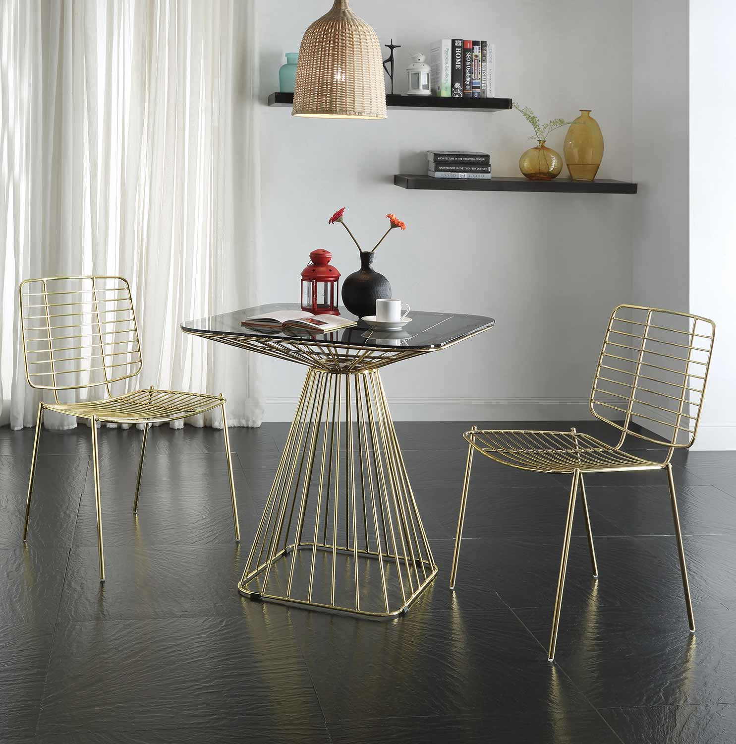 Acme Rianne Dining Set - Gold/Smoky Glass