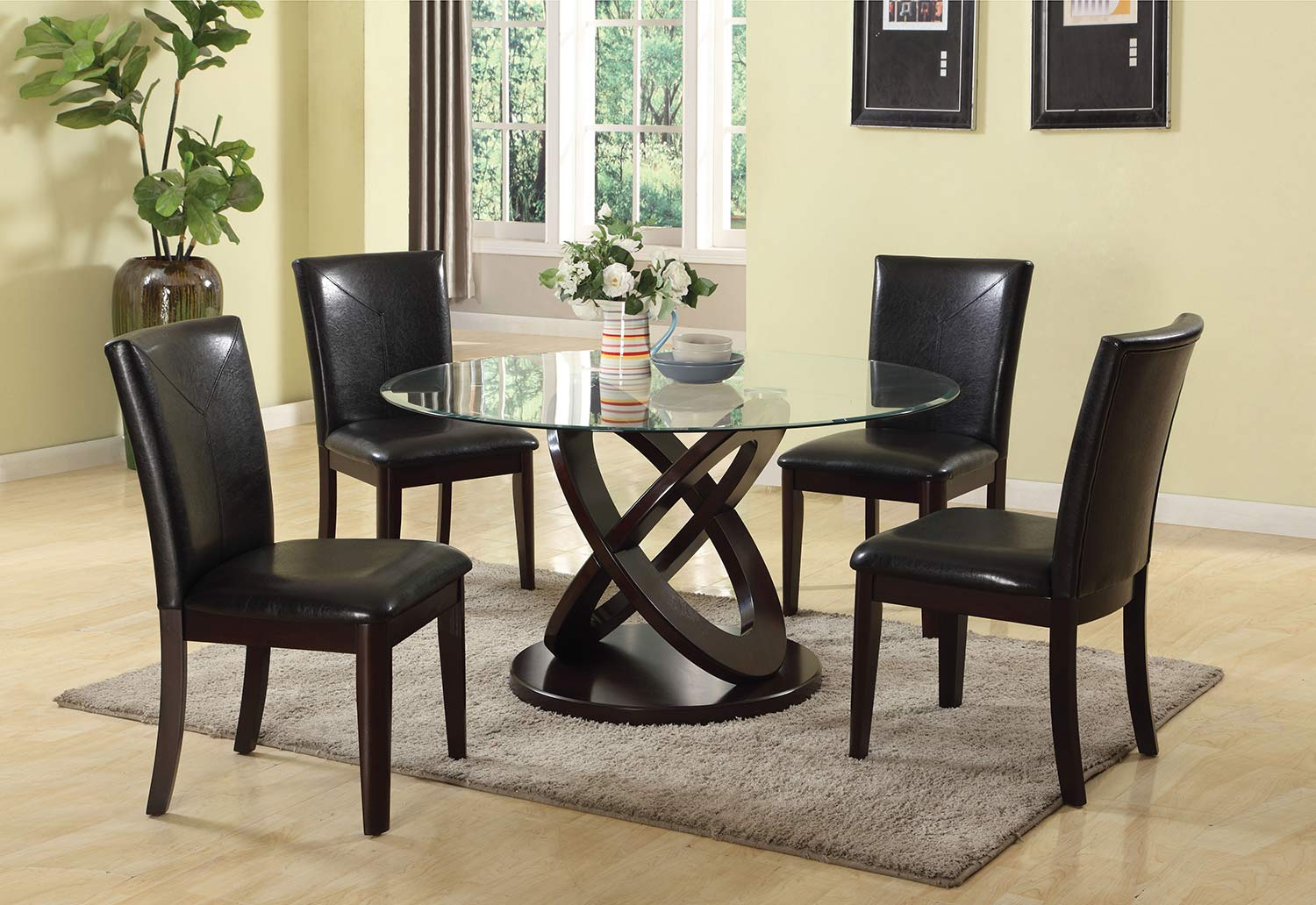 Acme Gable Dining Set - Espresso/Clear Glass