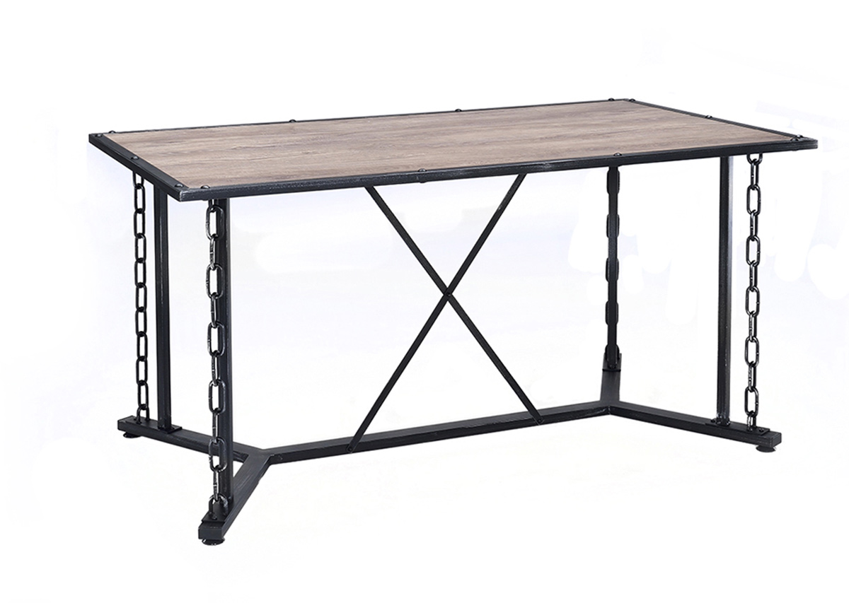 Acme Jodie Dining Table - Rustic Oak/Antique Black