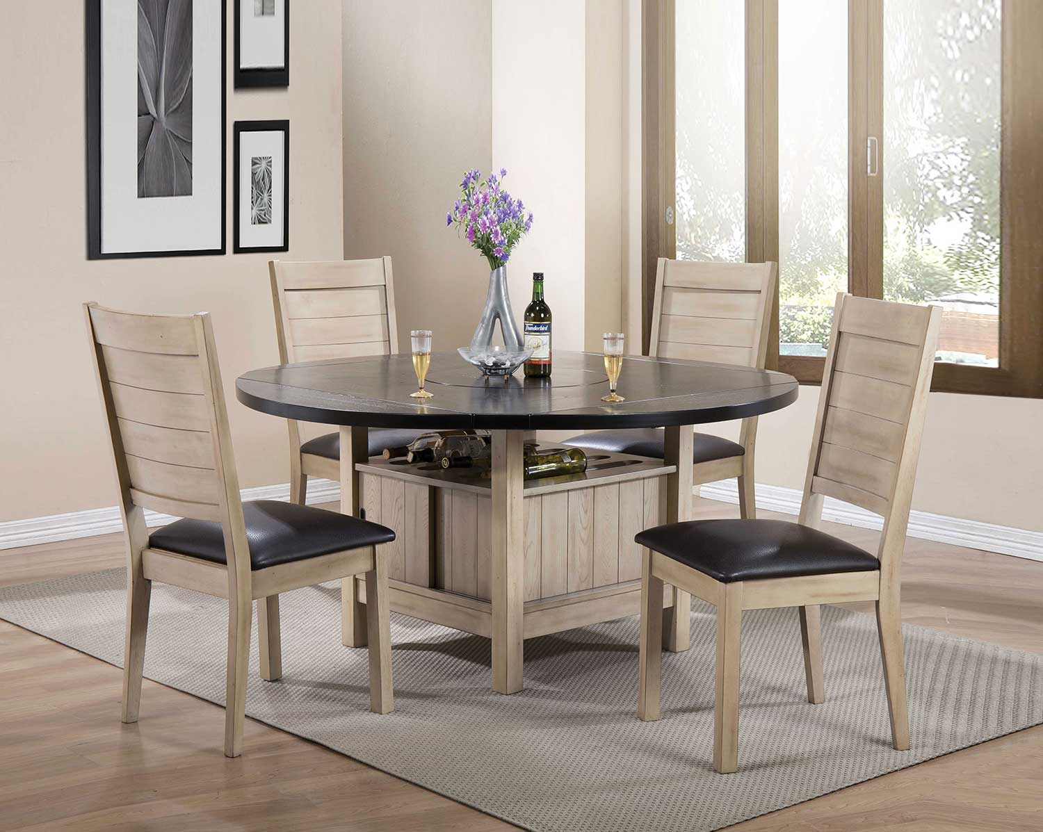 Acme Ramona Dining Set - Dark Walnut/Antique Beige