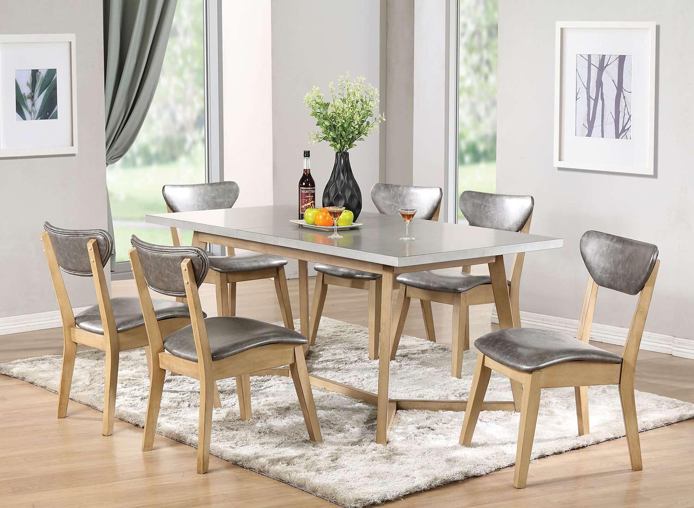 Acme Rosetta Dining Set - Faux Marble/White Washed