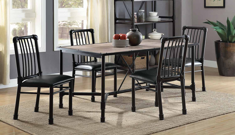 Acme Caitlin Dining Set - Rustic Oak/Black