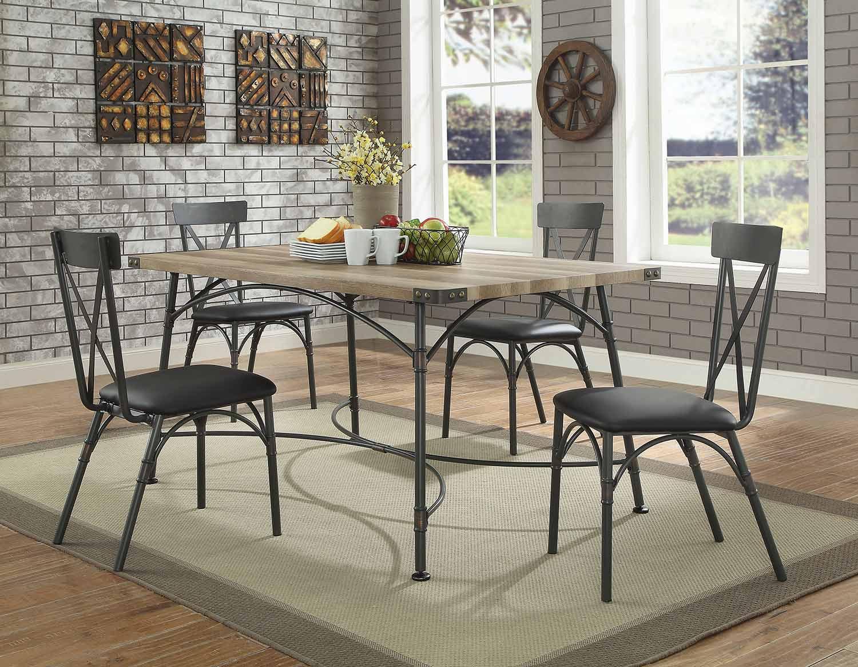 Acme Itzel Dining Set - Antique Oak/Sandy Gray