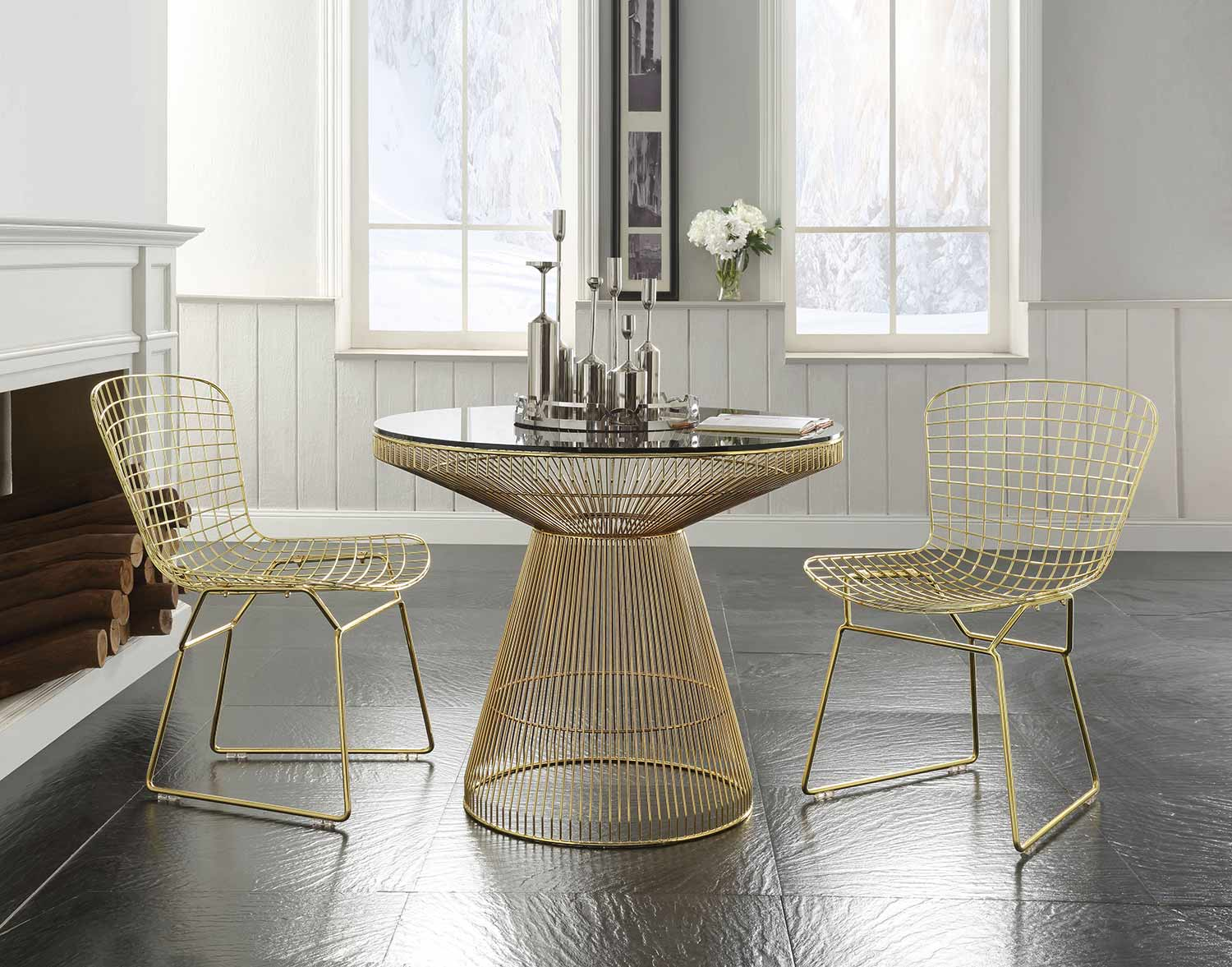 Acme Rasia (Rianne) Dining Set - Gold