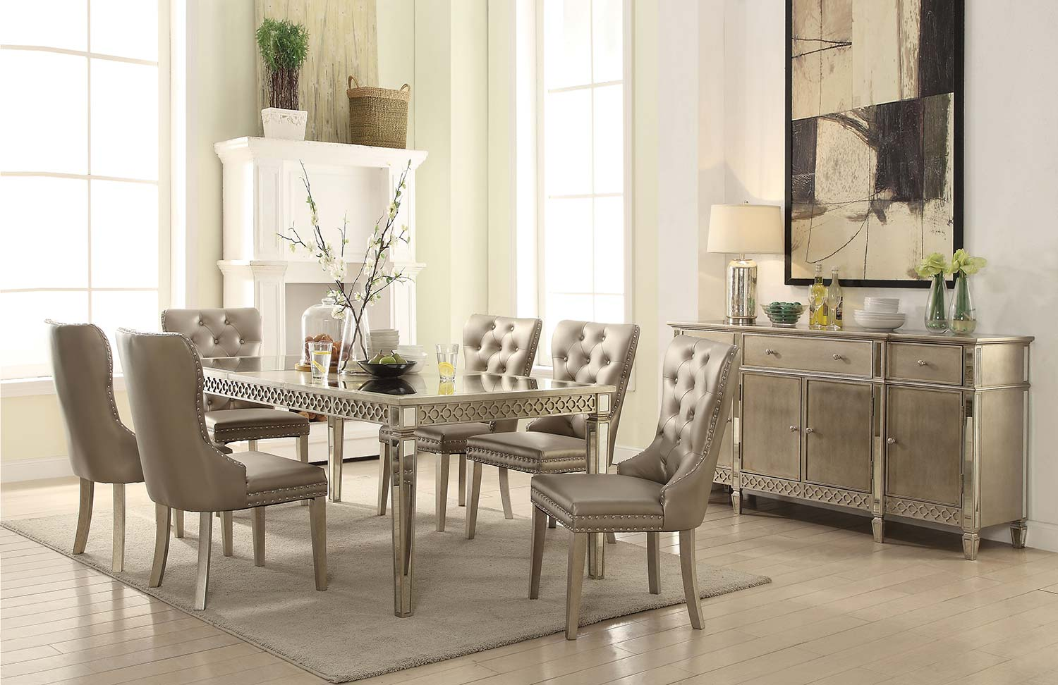Acme Kacela Dining Set - Mirror/Champagne