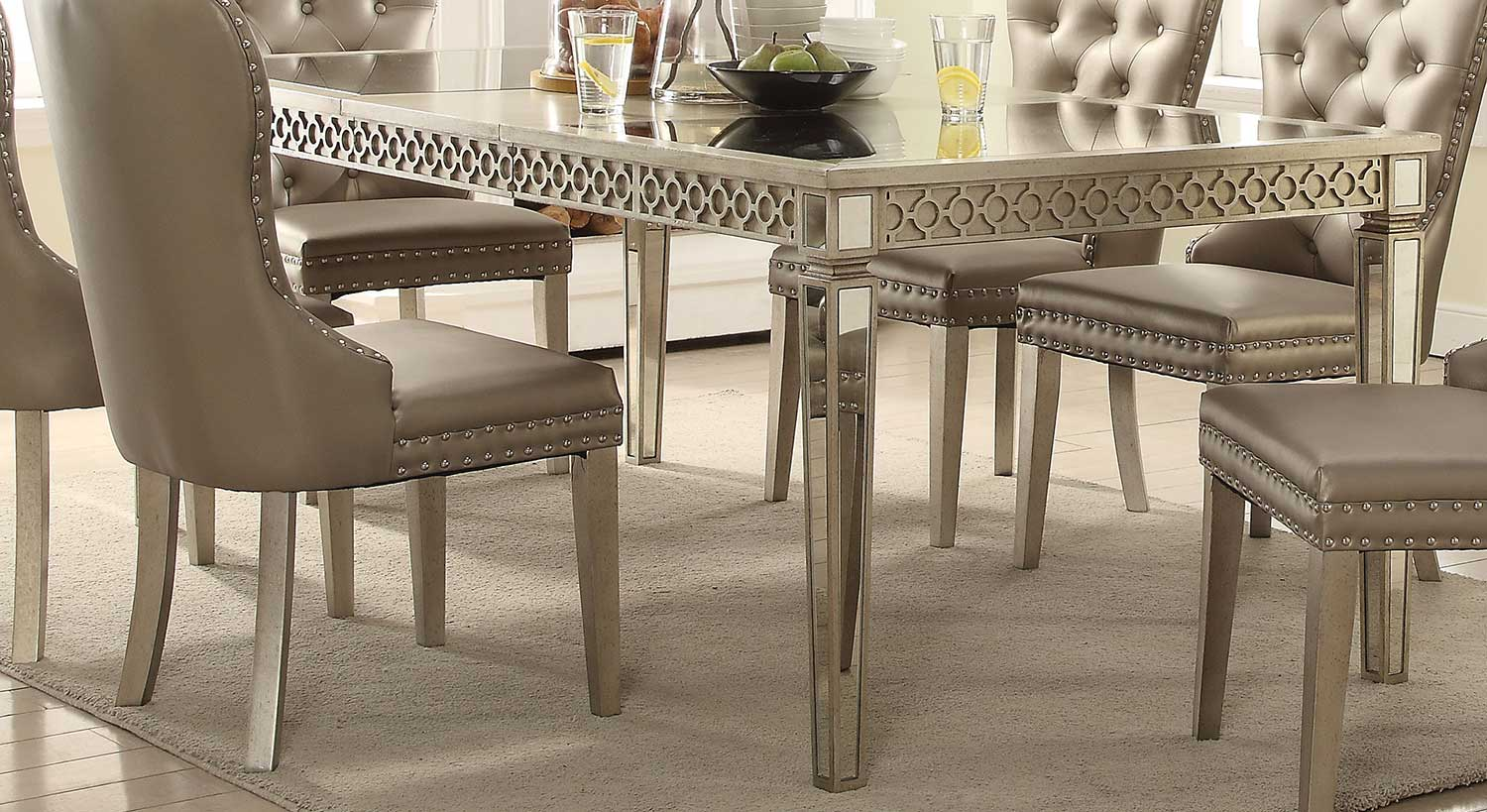 Acme Kacela Dining Table - Mirror/Champagne