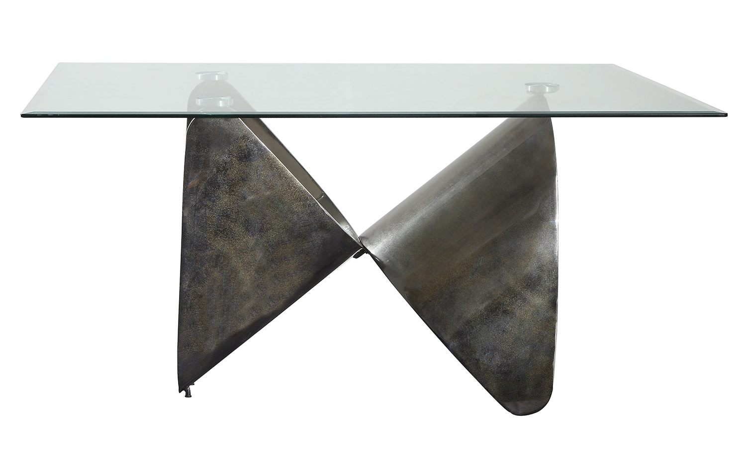 Acme Widforss Dining Table - Antique Silver/Clear Glass