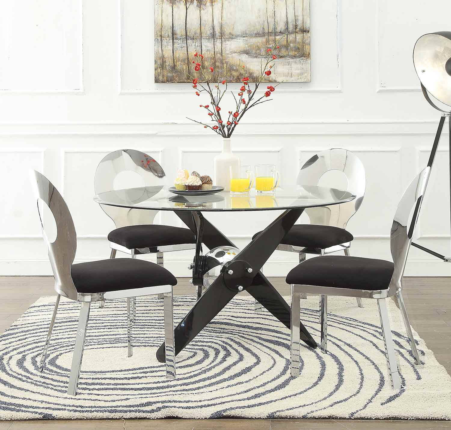 Acme Hagelin Dining Set - Black/Chrome/Clear Glass