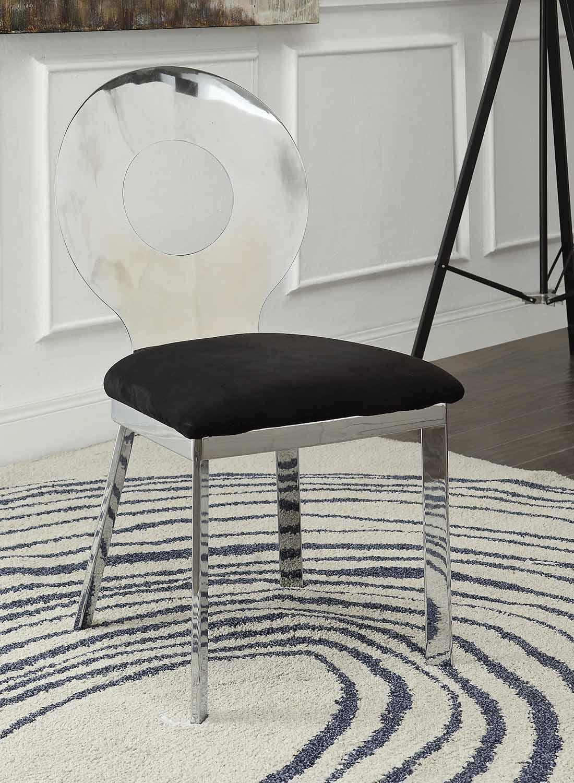 Acme Hagelin Side Chair - Black Mfb/Chrome