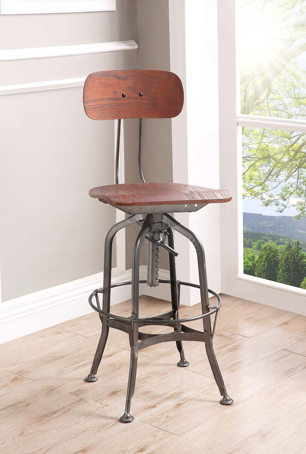 Acme Kaeso Adjustable Stool with Swivel - Walnut/Gunmetal