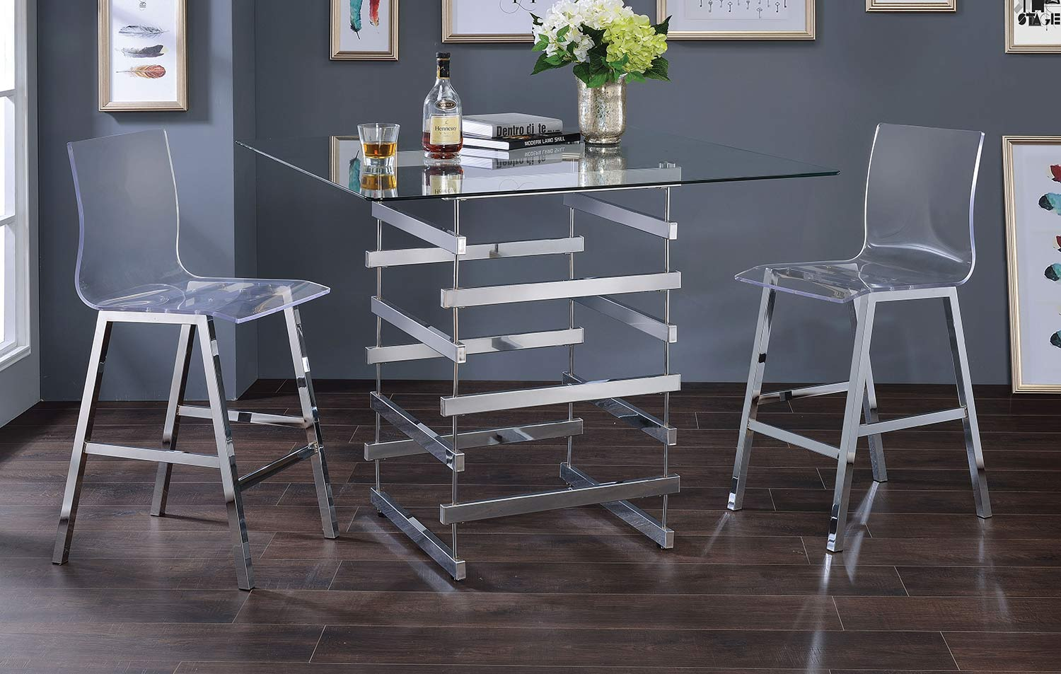 Acme Nadie Counter Height Dining Set - Chrome/Clear Glass