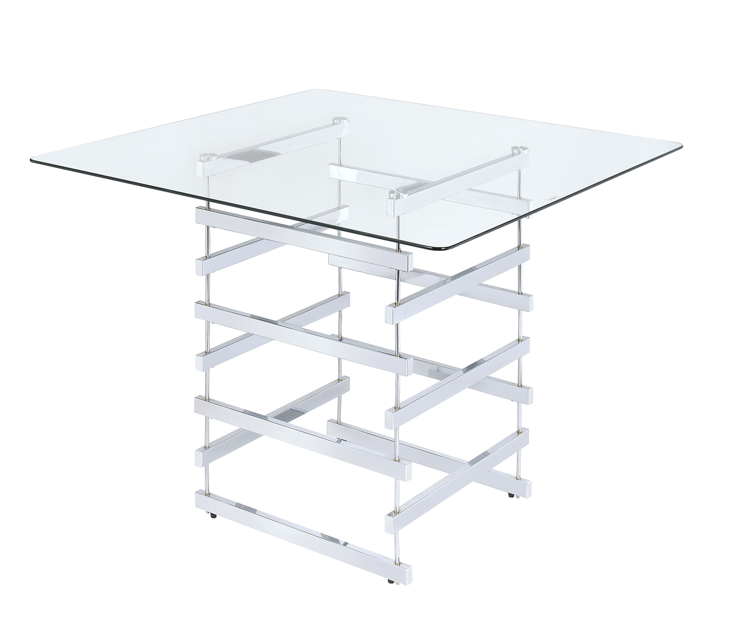 Acme Nadie Counter Height Table - Chrome/Clear Glass