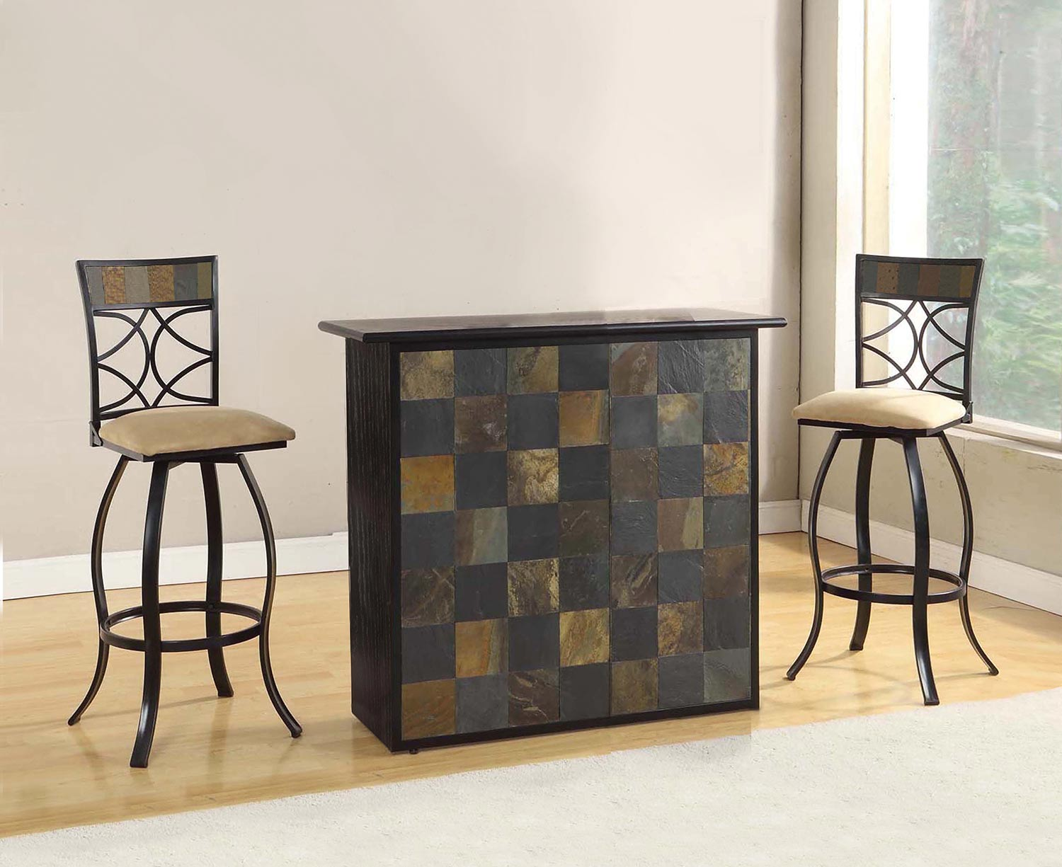 Acme Pansy Bar Dining Set - Stone/Black