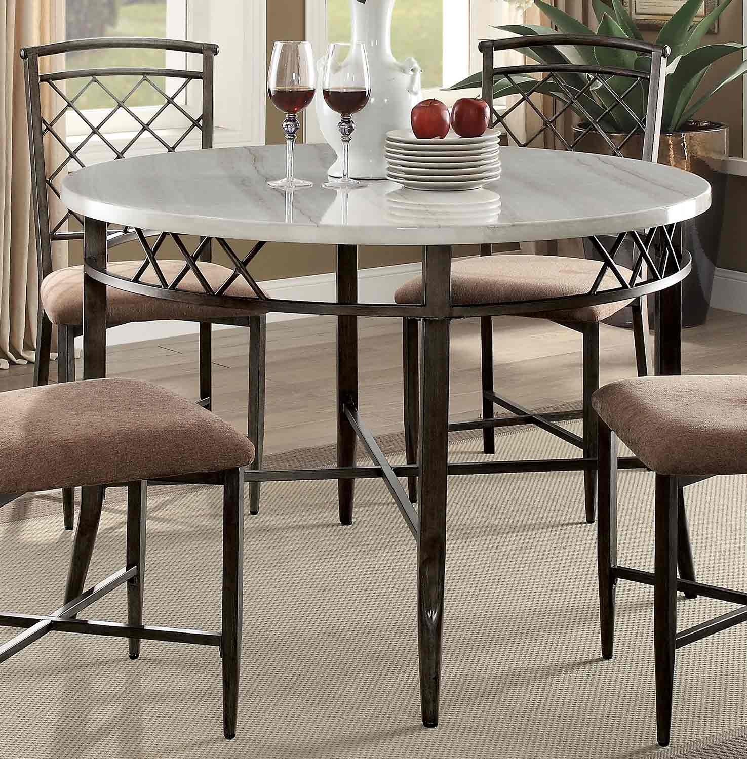 Acme Aldric Dining Table - Faux Marble/Antique