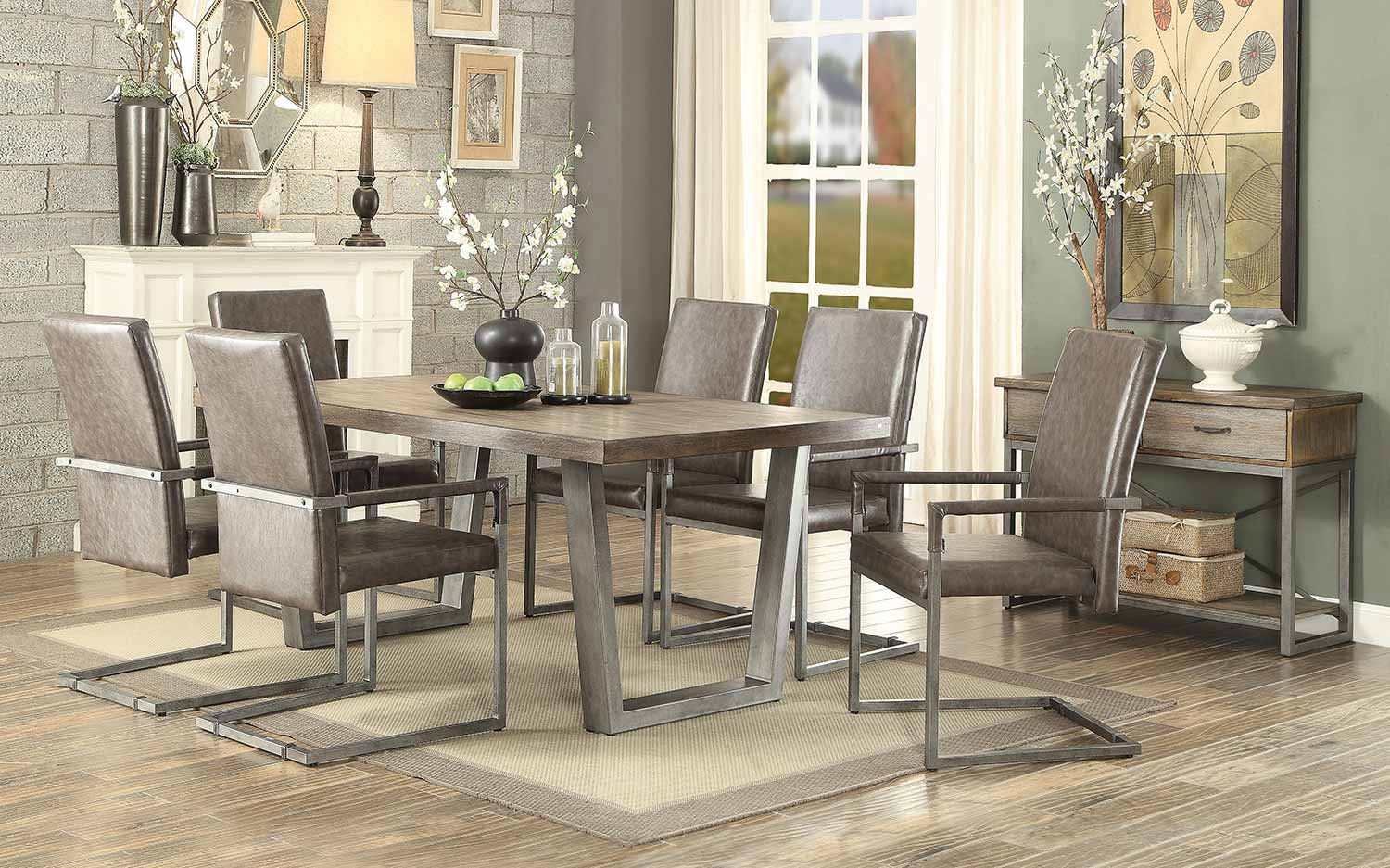 Acme Lazarus Dining Set - Weathered Oak/Antique Silver