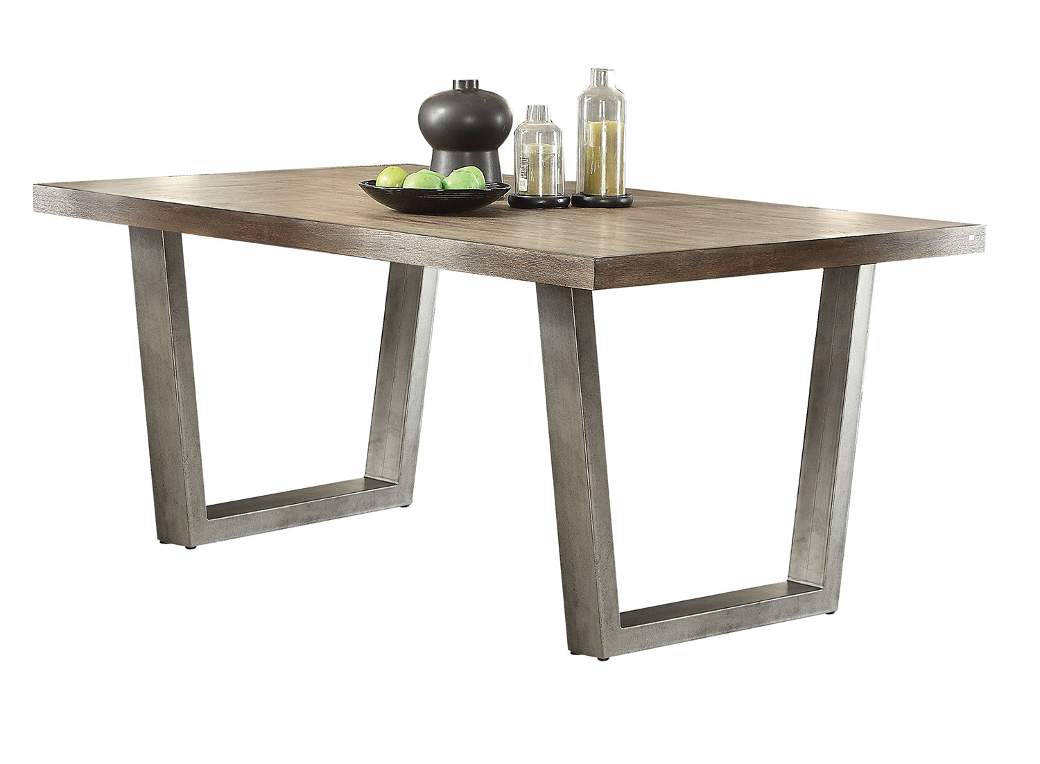 Acme Lazarus Dining Table - Weathered Oak/Antique Silver