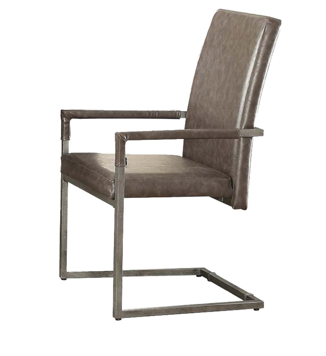 Acme Lazarus Arm Chair - Vintage Gray Vinyl/Antique Silver