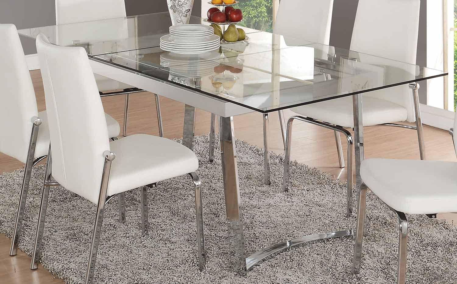 Acme Osias Dining Table - Chrome/Clear Glass