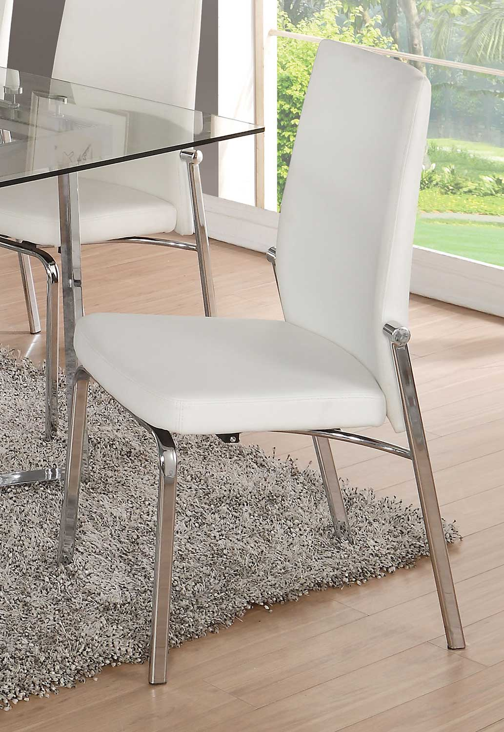 Acme Osias Side Chair - White Vinyl/Chrome