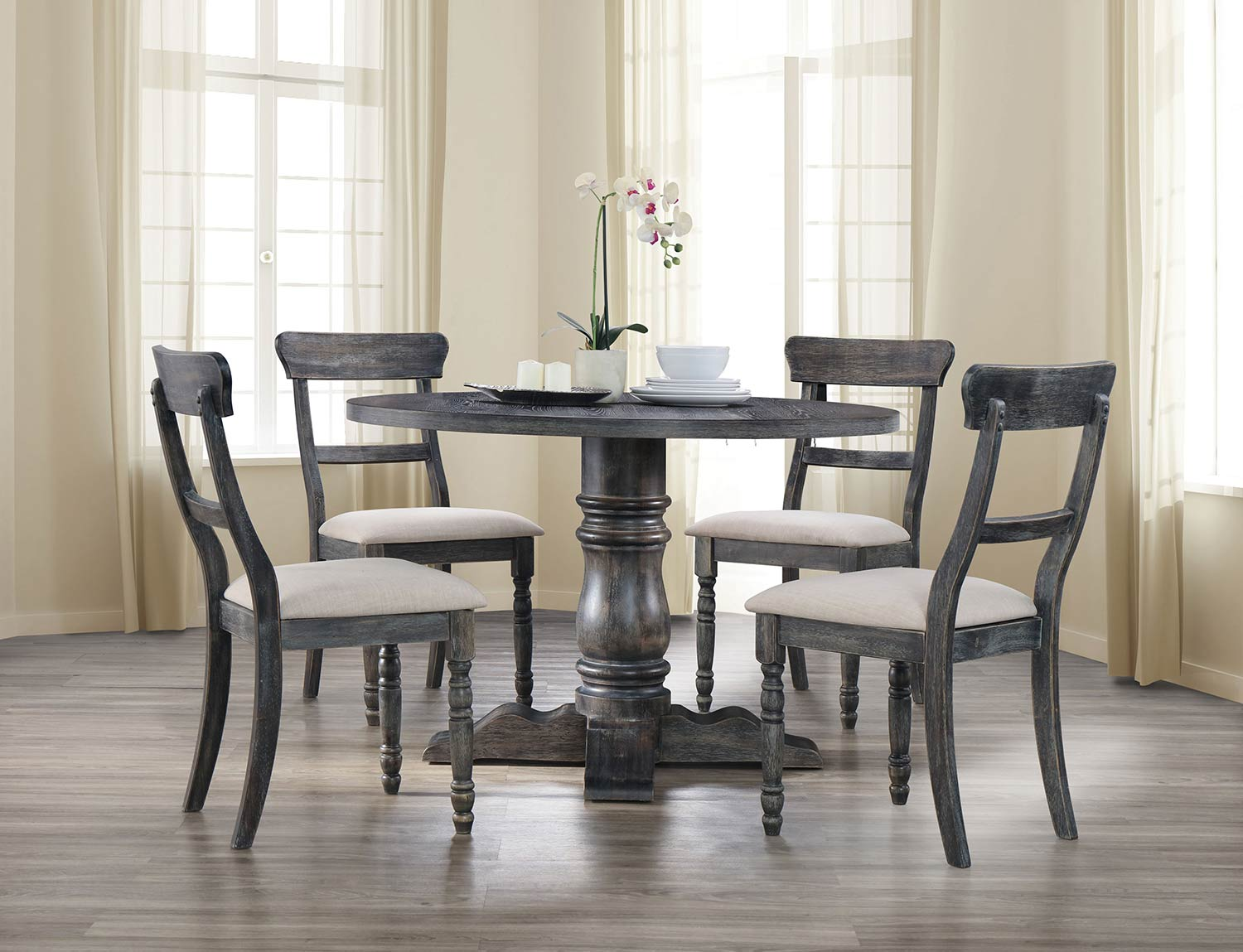 Acme Leventis Dining Set with Pedestal - Weathered Gray