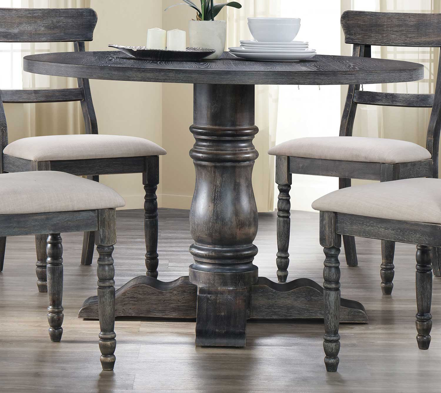 Acme Leventis Dining Table with Pedestal - Weathered Gray
