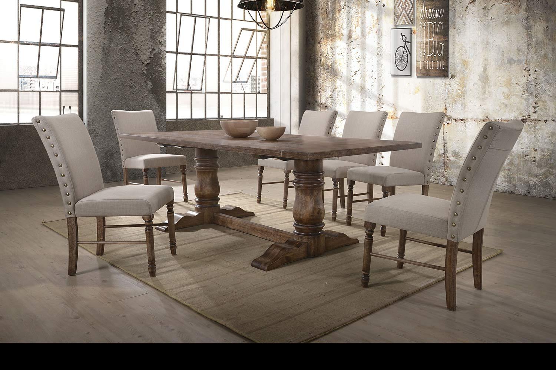 Acme Leventis Dining Set - Weathered Oak