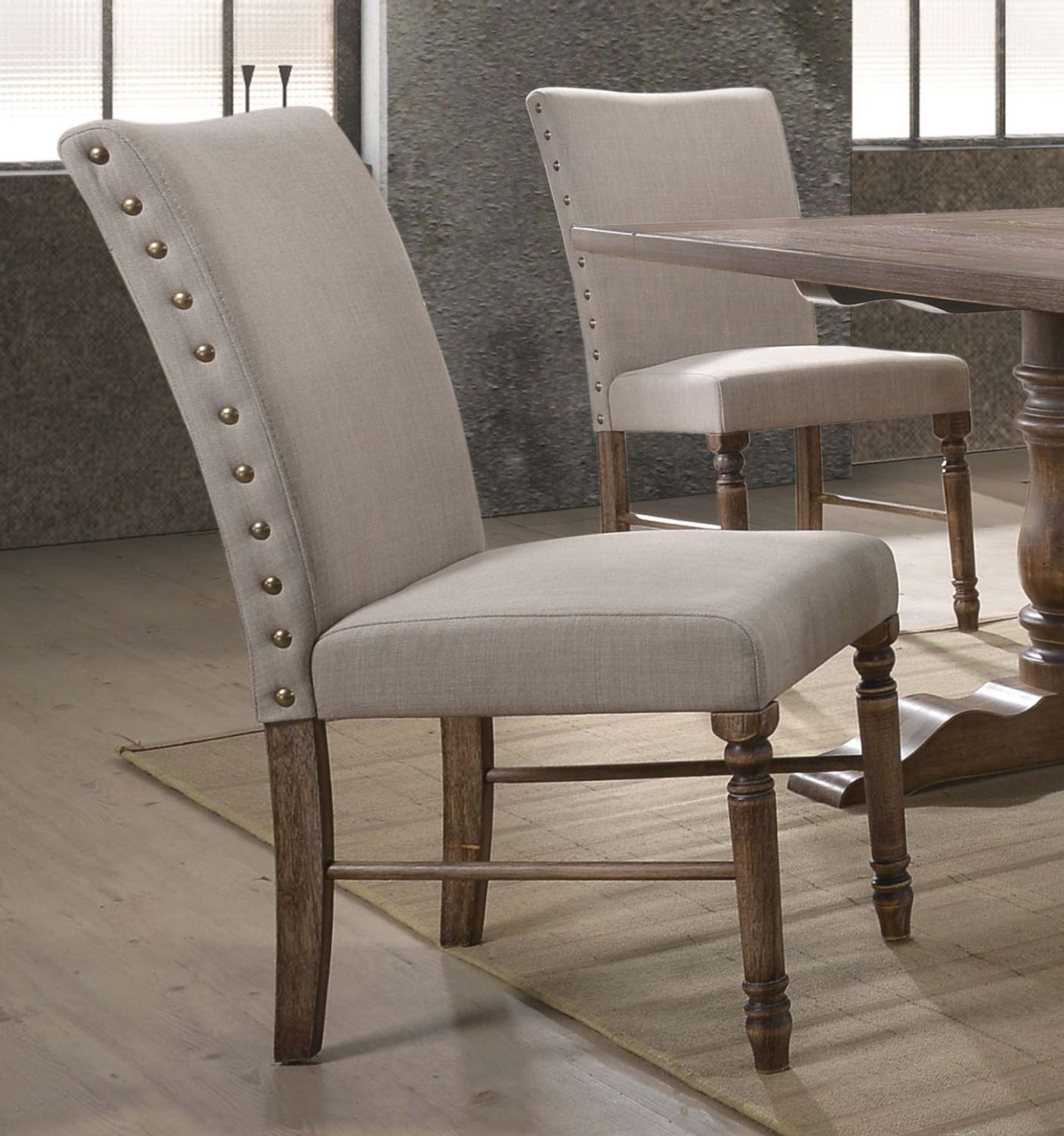 Acme Leventis Side Chair - Cream Fabric/Weathered Oak