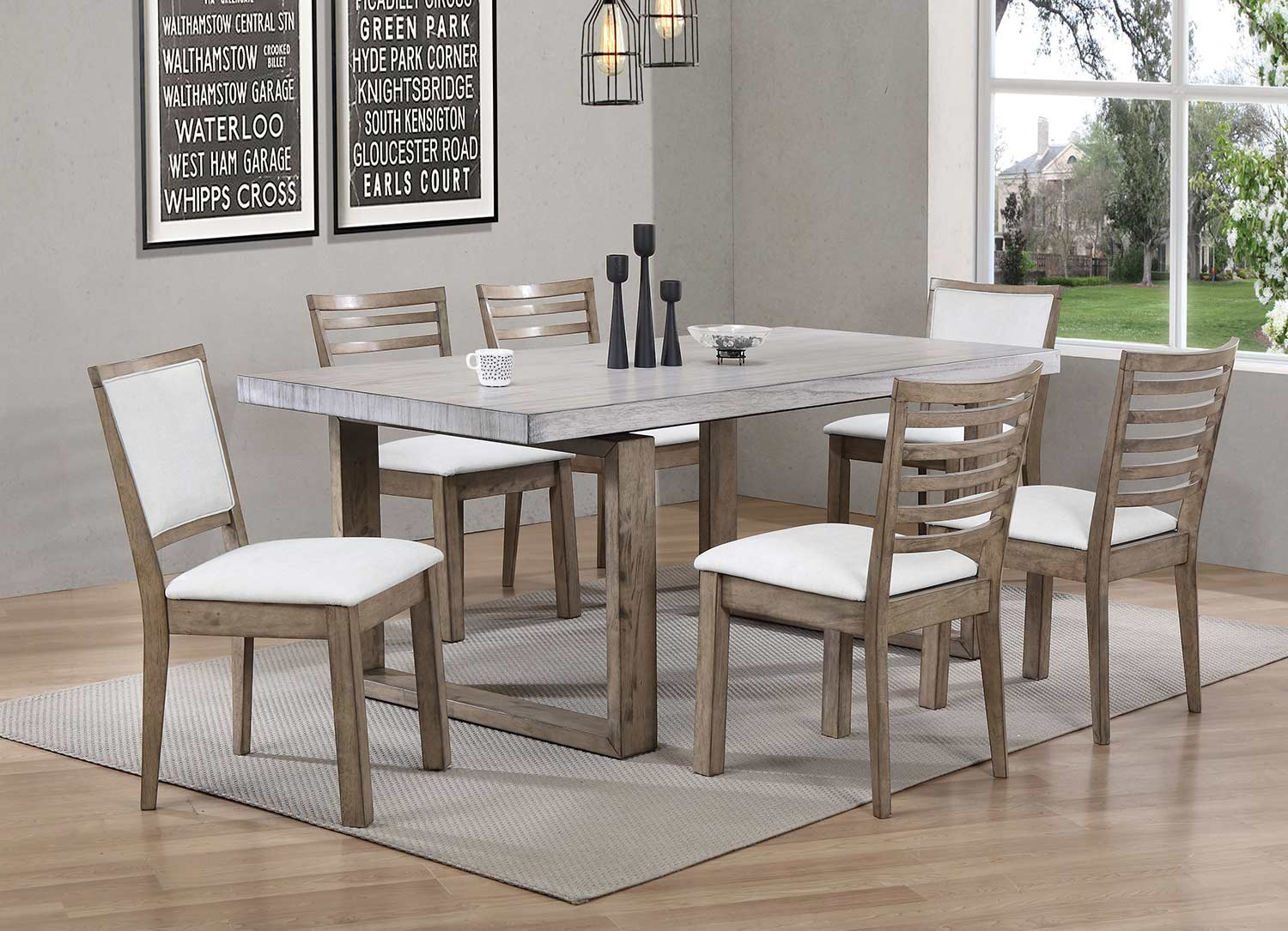 Acme Paulina Dining Set - Light Gray/Rustic Oak
