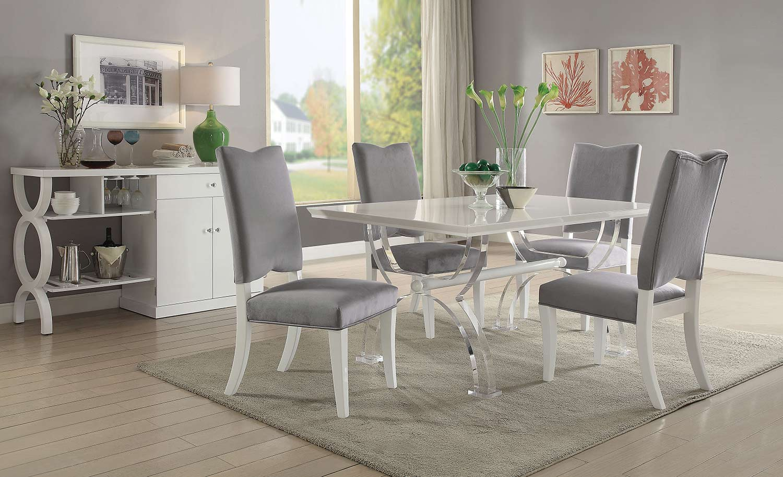Acme Martinus Dining Set - High Gloss White/Gray Fabric