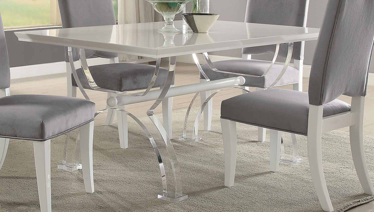 Acme Martinus Dining Table - High Gloss White/Clear Acrylic