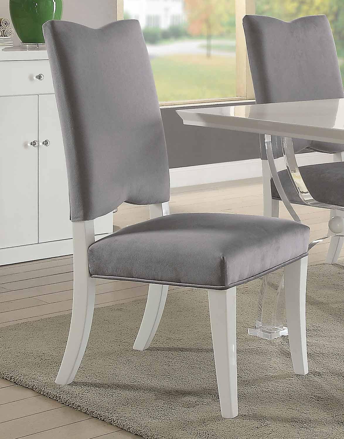 Acme Martinus Side Chair - Gray Fabric/White