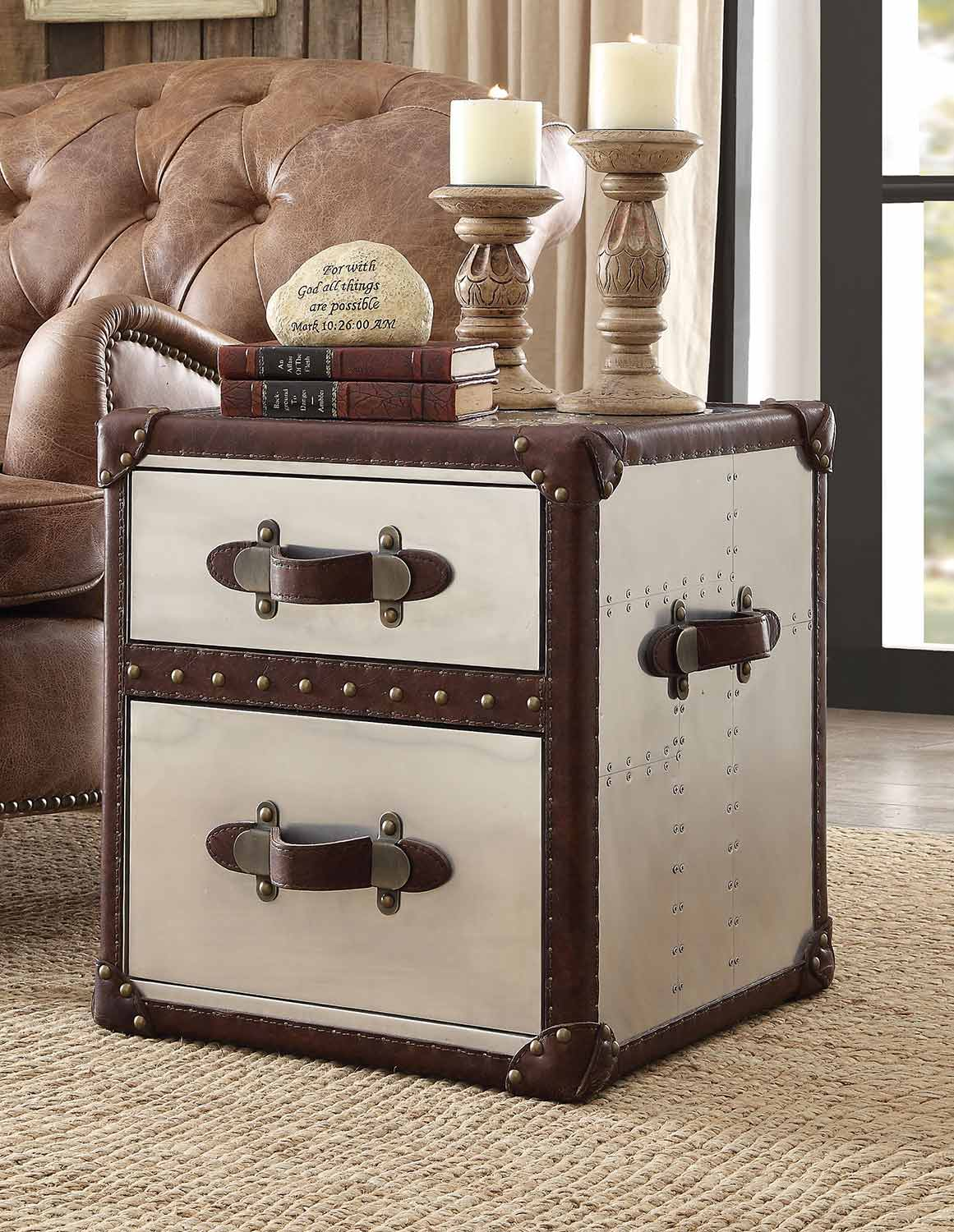 Acme Aberdeen End Table - Vintage Dark Brown TG Leather