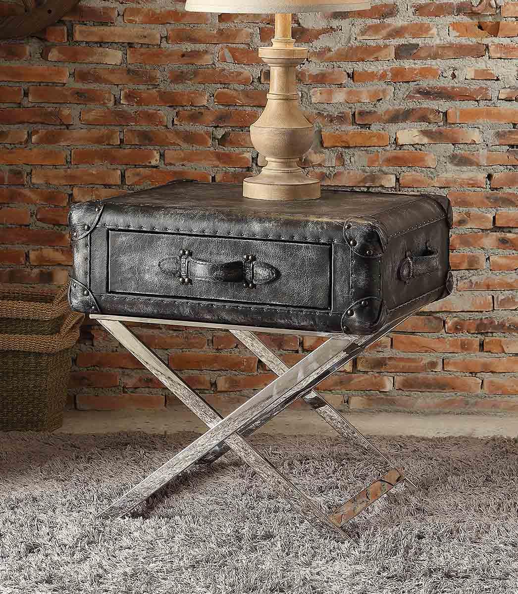 Acme Aberdeen End Table - Vintage Black Top Grain Leather