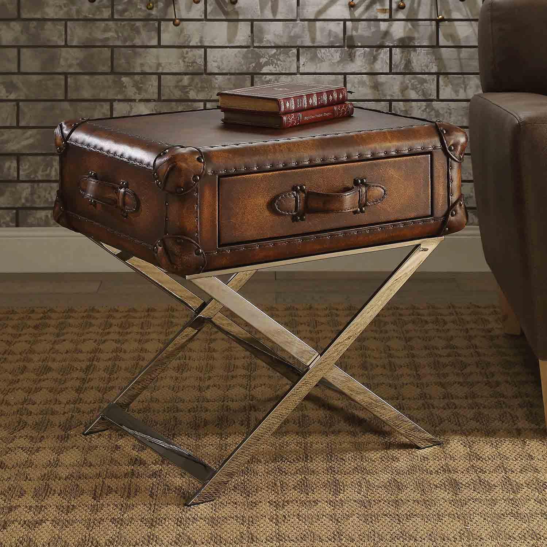 Acme Aberdeen End Table - Vintage Mocha Top Grain Leather