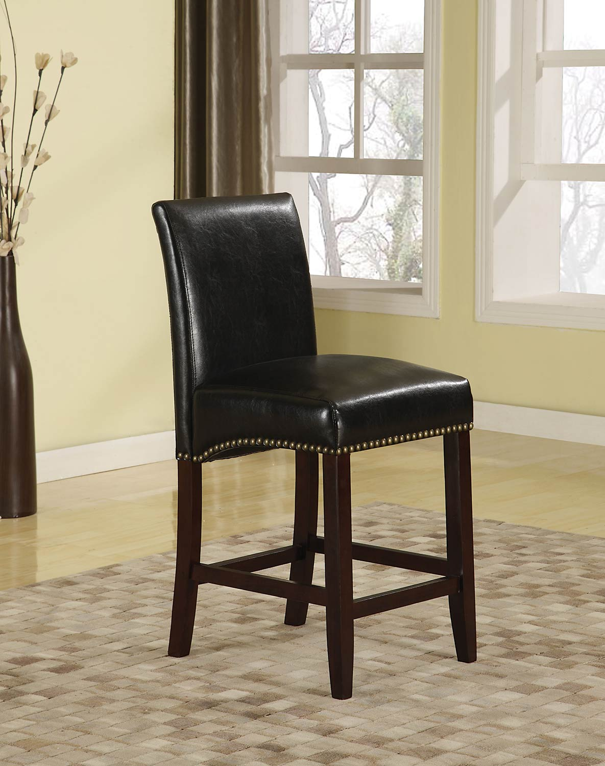 Acme Jakki Bar Chair - Black Vinyl