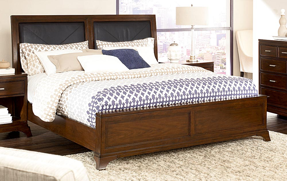 American Drew Essex Leather Accent Bed Set