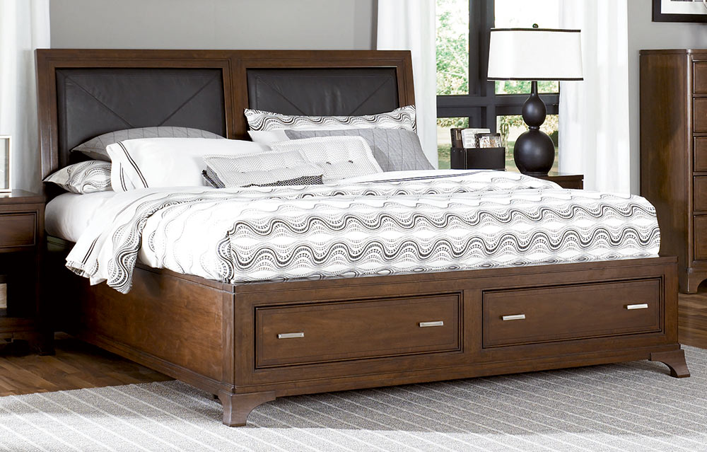 American Drew Essex Leather Accent Bed With Storage Footboard