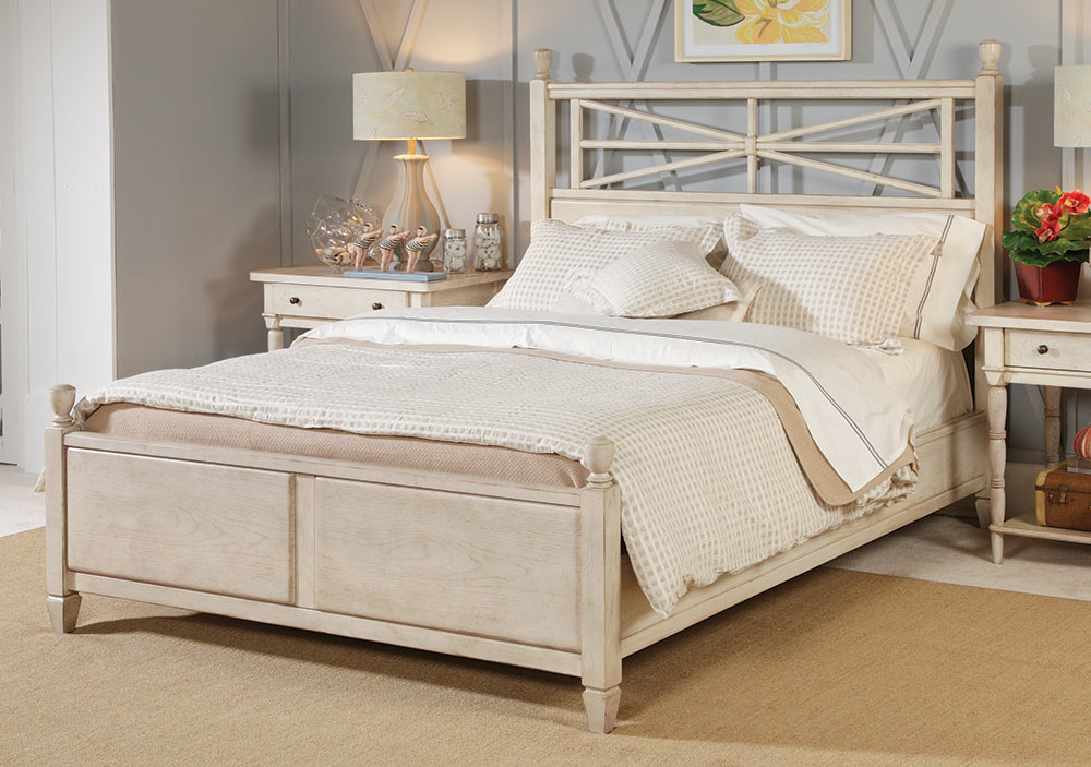 American Drew Americana Home Arbor Gate Low Poster Bed - White