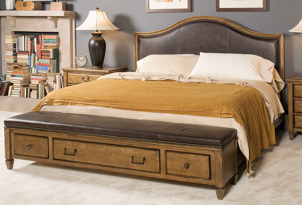 American Drew Americana Home Highland Leather Bench Bed