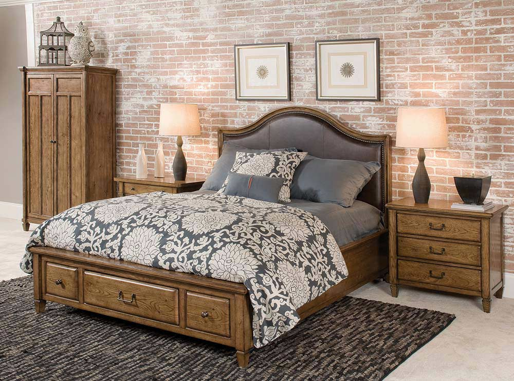 American Drew Americana Home Highland Leather Storage Platform Bedroom Collection