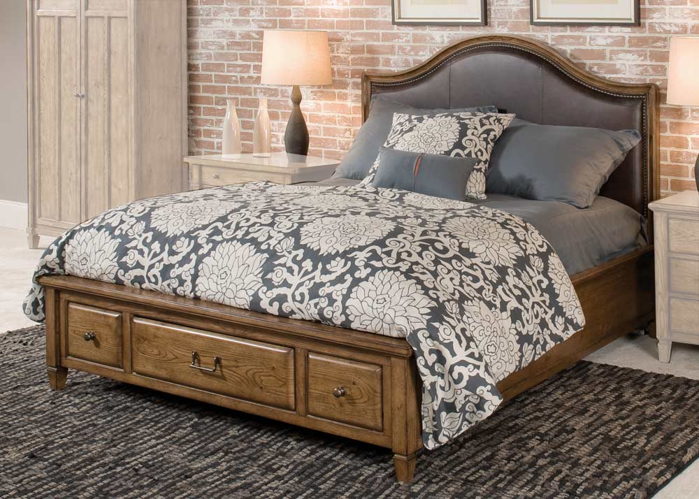 American Drew Americana Home Highland Leather Storage Platform Bed