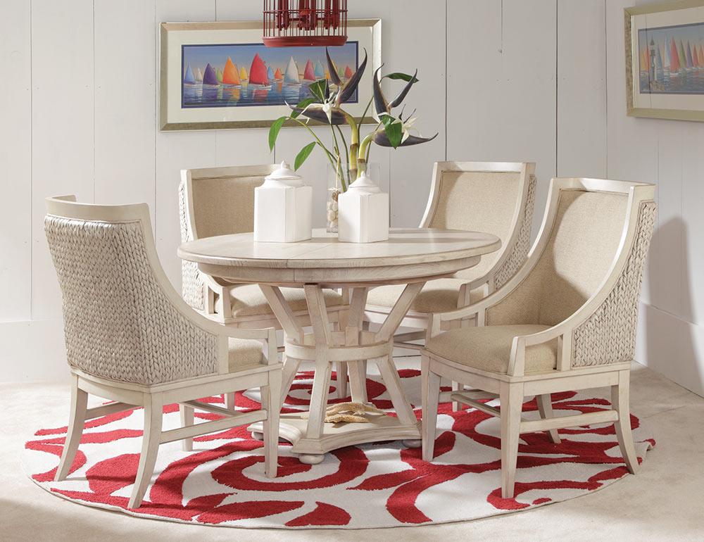 American Drew Americana Home Artisan's Round Table Set - Weather White