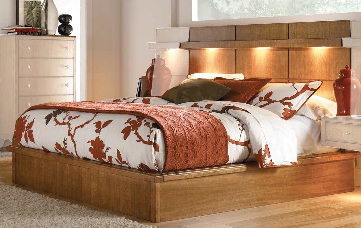 American Drew Preface Wall Platform Bed with Attached Night Stands