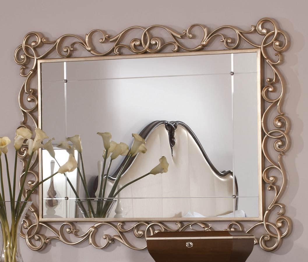 American Drew Jessica McClintock Couture Silver Leaf Accent Mirror A
