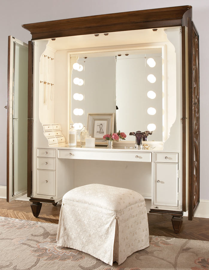 american drew jessica mcclintock couture dressing armoire with castered stool 908 273. Black Bedroom Furniture Sets. Home Design Ideas