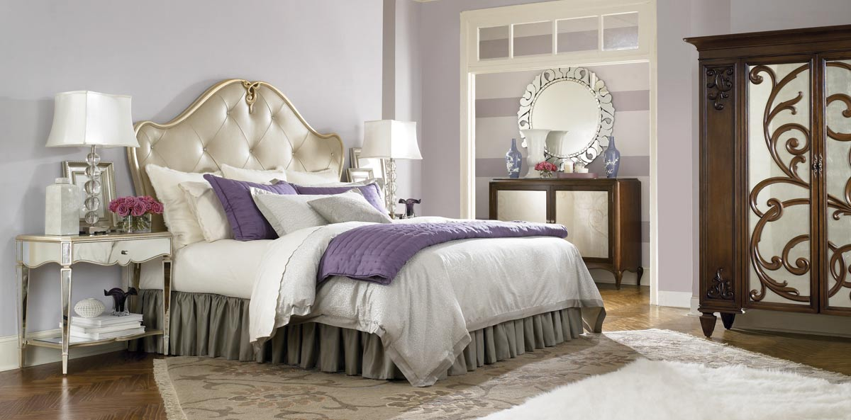 American Drew Jessica McClintock Couture Leaf Leather Bedroom Collection